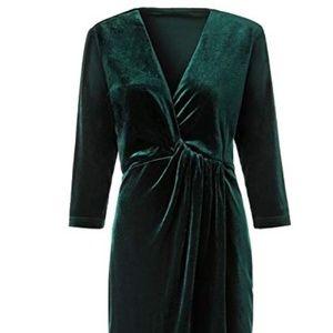 Dresses & Skirts - Women's Green Velvet Dress V-neck Wrap, XL